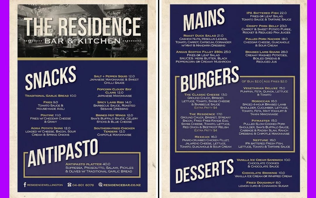 The Residence Bar & Kitchen Wellington Review